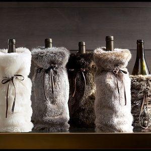 Restoration Hardware Luxe Faux Fur Wine Bag